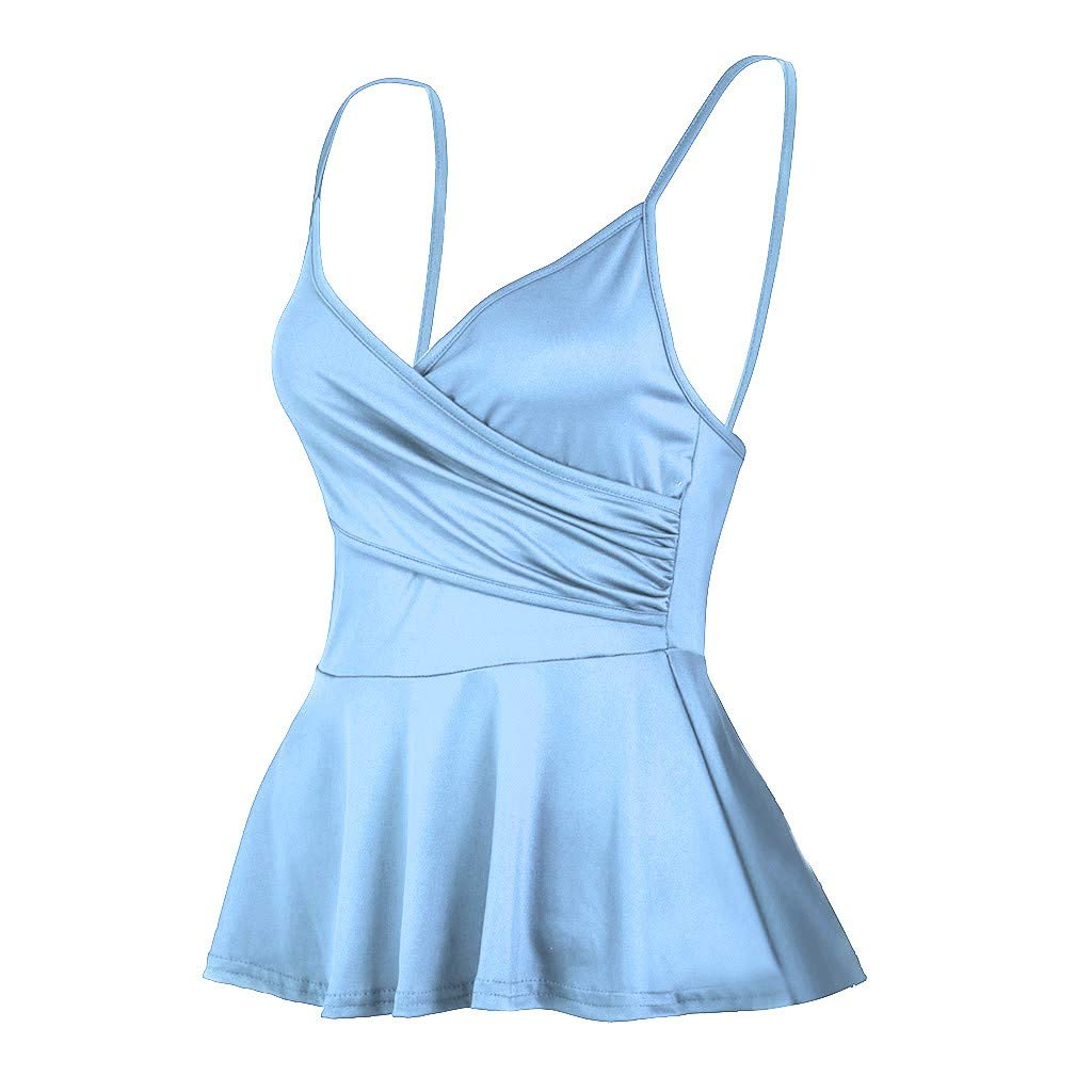 NUWFOR Summer Women's V Neck Solid colorSling Casual Vest Sexy Tank Tops (Light Blue,US XXXL Bust:31.4-40.0'')