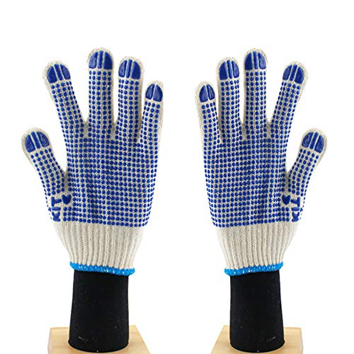 12 Pairs of White 100% Cotton Dispensing Non-Slip Wear-Resistant Gloves With Elastic String Knit Wrist for Tug-Of-War Fitness Climbing Industrial Agricultural Repair
