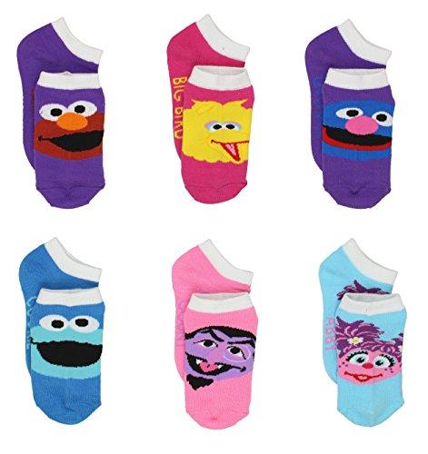 Sesame Street Little Girls 6 pack Socks (2-4 (Shoe: 4-7), Muppet Multi) (Count Sesame Street)