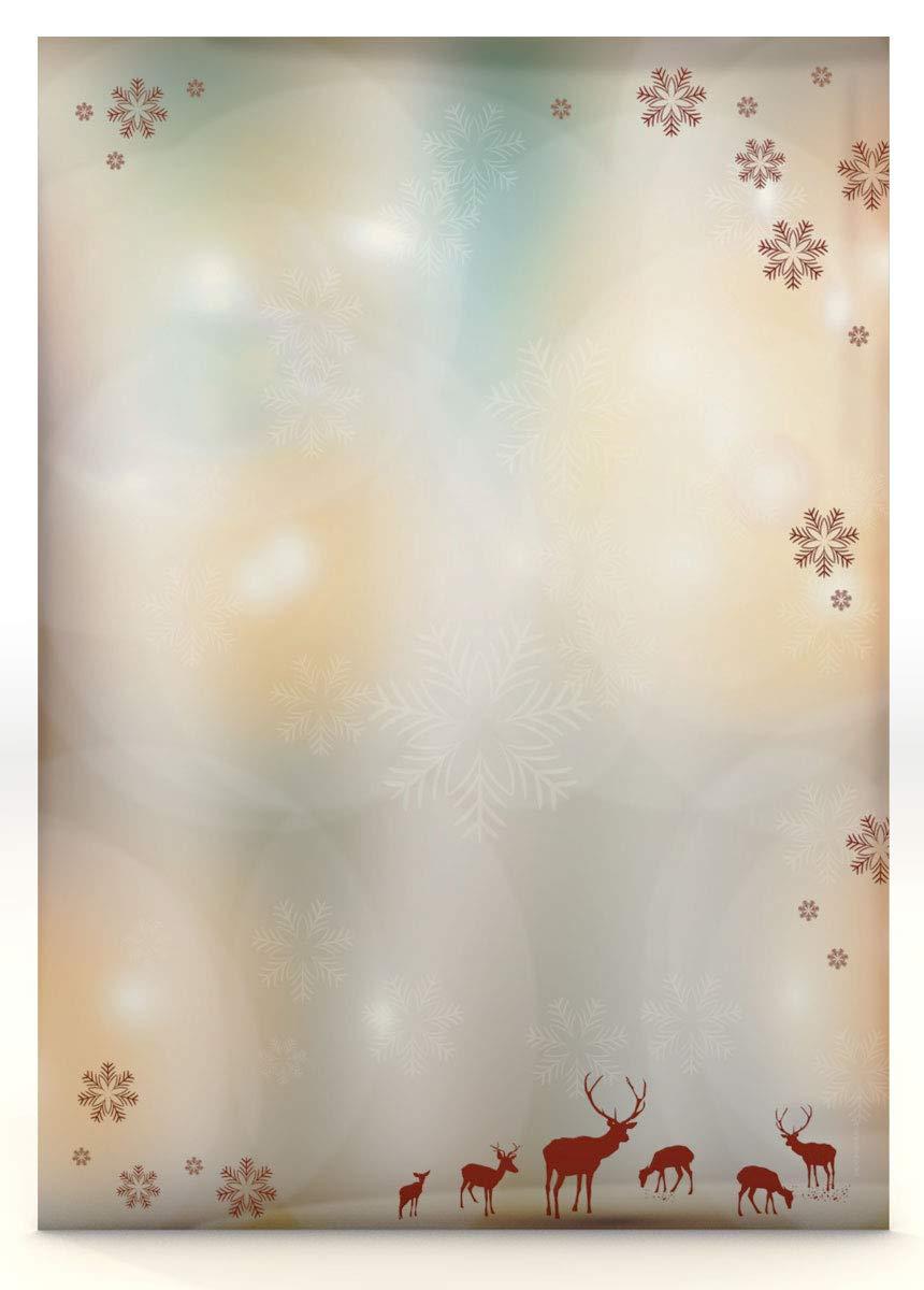 paperandpicture.de - Carta da lettere natalizia, con renne, 100 fogli da 100g/qm