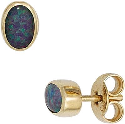 Ohrstecker Ohrschmuck mit Opal grün blau 585 Gold Gelbgold