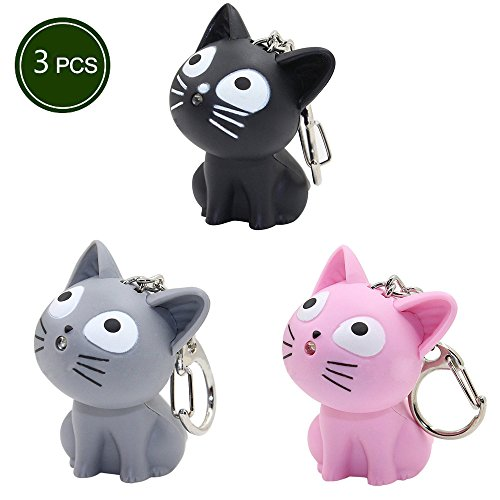 LED Cute kitty Cat Keychain with sound and flashlight lover gift child Toy-3 (Lover Keychains)
