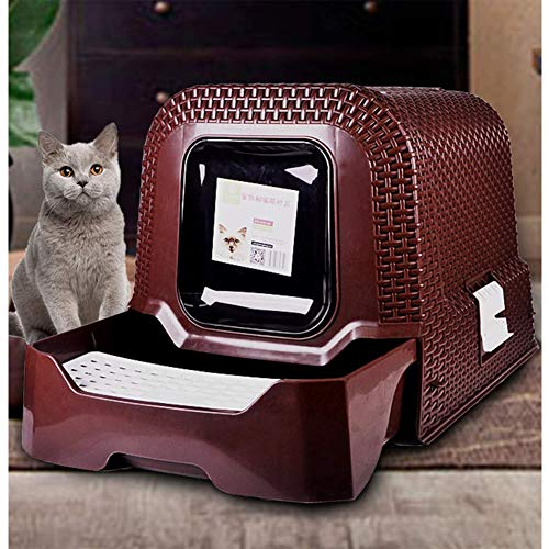 Cat Litter Box,Pet Litter Box,Top Entry Cat Litter Box Easy Clean Fully Enclosed Rattan Style Cat Toilet Includes Scoop-Large 20.5 X 16.5 X 15.4 In,Brown