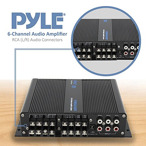 Pyle 6-Channel Audio Marine Amplifier - Compact Power 600 Watt RMS 4 OHM Full Range Stereo with Volume Bass Treble Rotary Control - Wireless Bluetooth Receiver Speaker & LCD Digital Screen PFMRA640BB by Pyle (Image #4)