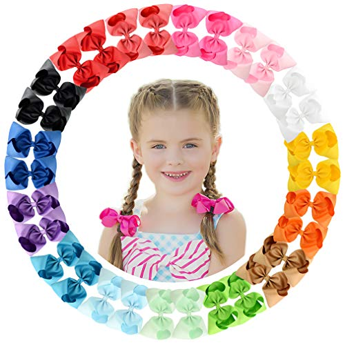 - CHLONG 30pcs 4 Inches Grosgrain Ribbon Hair Bow Clips Set for Girls Toddlers Kids Teens 15 Color (4inch-30pcs)