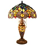Tiffany Style Table Lamps 24 Inch Tall Sea Blue Yellow Stained Glass Dragonfly Shade 3 Bulb Desk Light Glass Night Light Base for Living Room Coffee Table Bedroom S128 WERFACTORY