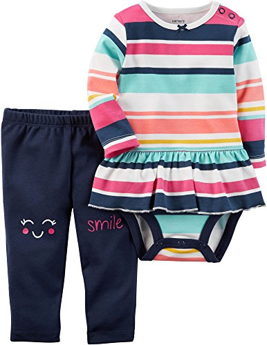 Primrose Leggings Pants - Carter's Baby Girls' 2 Piece Striped Bodysuit & Smile Pants Set 3 Months Blue