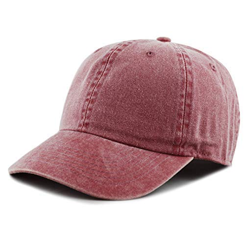The Hat Depot 100% Cotton Pigment Dyed Low Profile Six Panel Cap Hat (Burgundy)