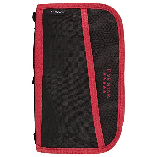Five Star Pencil Pouch, Pen Case, Fits 3 Ring Binder, Multi-Pocket Pouch, Black/Red (50162CE8)]()