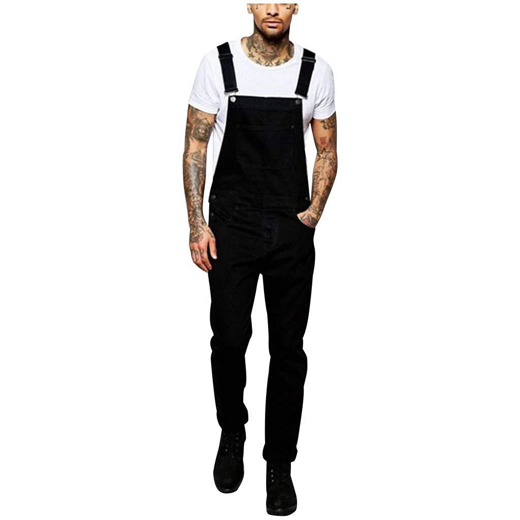 Aleola Mens Pocket Jeans Jumpsuit Streetwear Suspender Pants (Black,S) by Aleola_Men's Pants
