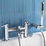 iBathUK   Luxury Bath Filler Mixer Tap with Modern Bathroom Shower Head TB3015