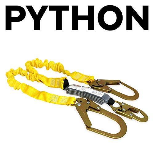 KwikSafety PYTHON | Double Leg 6ft Tubular Stretch Safety Lanyard | OSHA Approved ANSI Compliant Fall Protection | EXTERNAL Shock Absorber | Construction Arborist Roofing | Snap & Rebar Hook Connector by KwikSafety (Image #1)