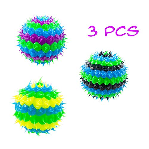(Super Spiky Rubber Bouncy Balls Party Favors for Kids, Squeezy Fidget Spike Ball Toys, Bouncy Ball Toy Sensory Balls for Stress Therapy & Autism, Large Spikey Ball (Boys 3 Pack - 1.5