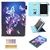 Universal Case for All 9.5-10.5 Inch Touchscreen Android Tablet, UUcovers Bling Stand Folio Slim PU Leather Wallet Cover with Card & Pencil Holder for Kindle Samsung Apple ipad Tab,ect, Purple Butterfly