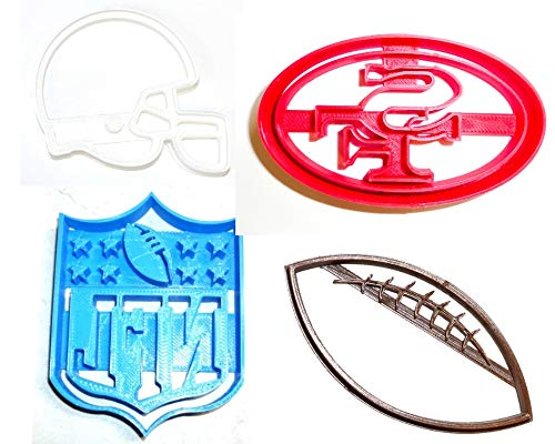 SAN FRANCISCO 49ERS NFL FOOTBALL LOGO HELMET SET OF 4 SPECIAL OCCASION COOKIE CUTTERS BAKING TOOL 3D PRINTED MADE IN USA PR1151