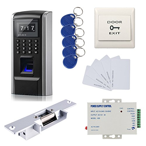 Bio Fingerprint Security Control Systems Electric Strike Fail Secure NO Mode Lock 110-240V Power Supply Push to Exit Button RFID Keychains/Cards by MENGQI-CONTROL