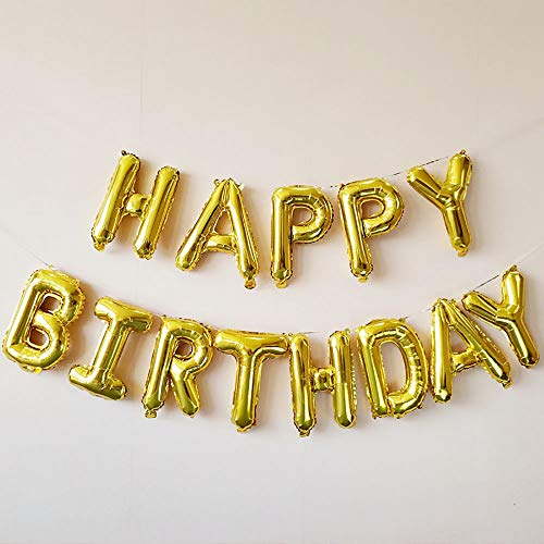 ONEPENG Happy Birthday Balloons,Aluminum Foil Banner Balloons for Birthday Party Decorations and Supplies Anniversary Events Props for Photos (Gold ()
