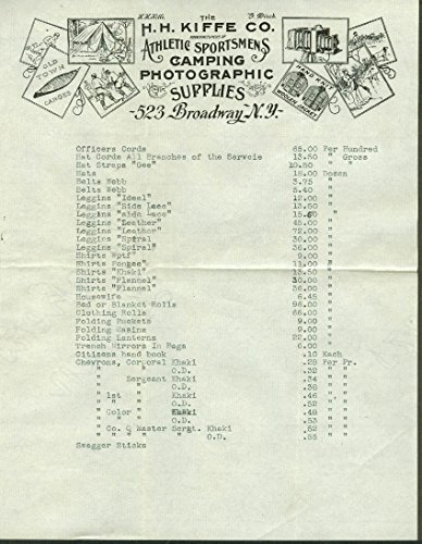 H H Kiffe Sportsmens Camping Photographic Supplies clothing price list 1920s - List Camping Supplies