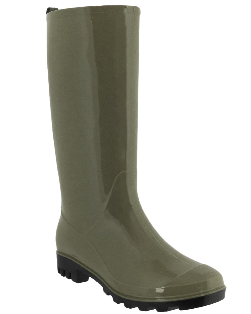 Capelli New York Ladies' Shiny Solid Opaque Rain Boot Olive 6