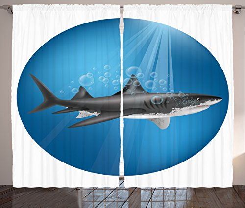 Sea Animal Decor Curtains by Ambesonne, Shark in Sea with Sun Rays in Circle Aquatic Underwater Creature Home Decor, Living Room Bedroom Window Drapes 2 Panel Set, 108W X 84L Inches, Blue Grey