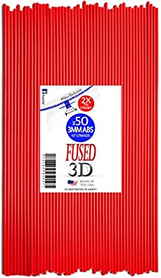 Fused3D 3D Printer Pen Filament 50 Strands of 10inch 3MM ABS Plastic Refills Made for 3D Printer Pen