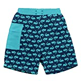 i play. Baby Boys Pocket Trunks with Built-in Reusable Absorbent Swim Diaper, Navy Whales, 6mo