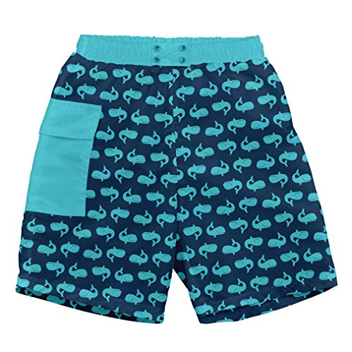 i play. Boys' Trunks with Built-in Swim Diaper, Navy Whales