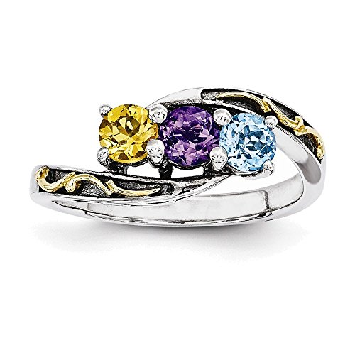 Jewelry Adviser Rings Sterling Silver & 14k Three-stone Mother's Ring Mounting Size 9 14k Ring Mounting