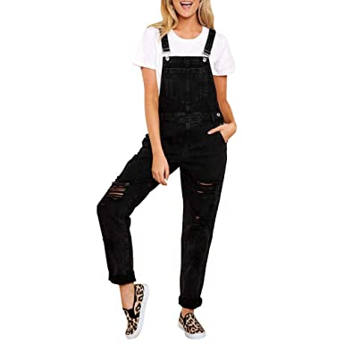 Women Jumpsuit Denim Overalls Casual Strap Hole Ripped Loose Jeans Plus Overalls