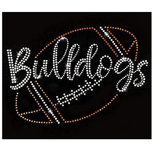 (Bulldogs Script Football Iron On Rhinestone Crystal and Rhinestud T-Shirt Transfer by JCS Rhinestones)