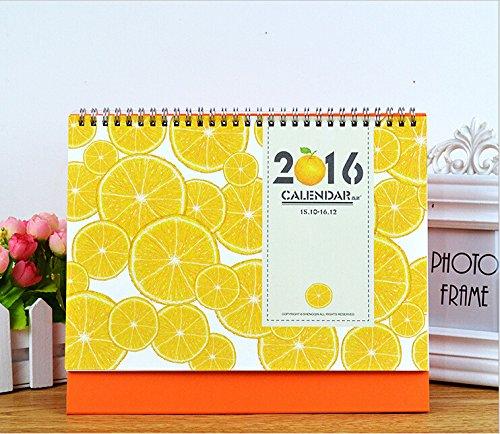 2016 Korean Fruit calendar Orange watermelon kiwi fruit calendar small desk calendar school office supplies (orange)
