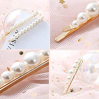Numblartd 5Pcs Vintage Artificial Pearl Gold Alloy Barrettes Hair Clip Bobby Pins - Women Lady Girls Fashion Sweet Side Clip Hairpin Hair Accessories for Wedding Bridal