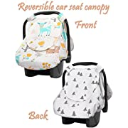 Reversible Car Seat Cover | Infant Car Seat Cover for Boys or Girls | Nursing Cover with Snap Window-Flap, Zipped Anti-Mosquito Mesh by Aylin's Boutique | Perfect Gift for Baby Shower (beige)