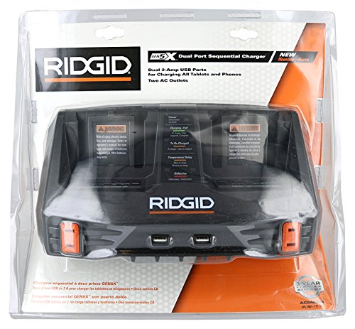 Ridgid AC840094 Gen5X Dual Port 18V Lithium Ion and NiCad Battery Charger with Pass-Through AC Ports and USB Charging (Batteries Not Included, Charger Only) by Ridgid (Image #1)