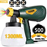 interior paint design Paint Sprayer, TECCPO 500 Watts Up to 100 DIN-s, 800ml/min HVLP Electric Spray Gun with 1300ml Detachable Container, 3 Copper Nozzles & 3 Spray Patterns, Adjustable Volume Dial for Home Exterior