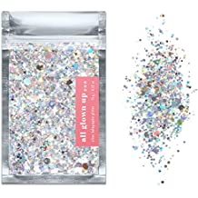 Silver Holographic Chunky Cosmetic Glitter (15g) - Great for Festivals, For Use on Face, Body, Hair, and Nails - by All Glown Up
