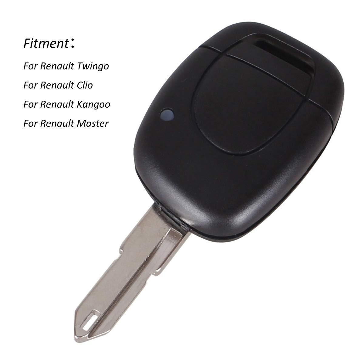 1 Botón de control remoto – Carcasa para llave de Renault Twingo Clio Kangoo Master No chip Keyless Entry Fob Case Uncut Blade