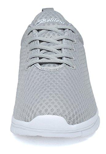 Belilent Heren Lichtgewicht Loopschoenen Ademende Atletische Vrijetijdsschoenen Mode Wandelschoenen Sneakers Grijs / Wit-073
