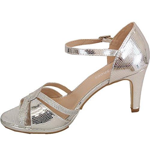 Dama plateado de Sandals Womens honor Ladies de de Dama Diamante honor CHC Stiletto Heel punta Wt56 abierta wzqn7Z