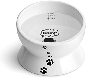 Y YHY Cat Bowls Elevated, Raised Cat Food Bowl, Tilted Cat Dish for Food and Water, Ceramic Water Bowl for Flat-Faced Cats or Small Dogs, No Spill,15 Ounces, Dishwasher Safe