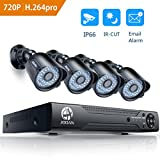 Security Camera System, 8 Channel 1080N DVR 4x720P HD-TVI Indoor/Outdoor IP66 Waterproof Bullet Cameras with IR Night Vision LEDs Home CCTV Video Surveillance Kits NO Hard Drive