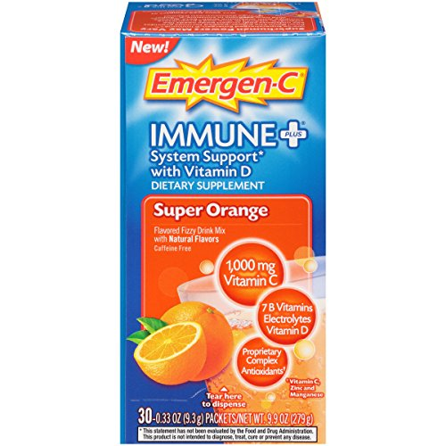 Emergen C Immune+ (30 Count, Super Orange Flavor) System Support Dietary Supplement Drink Mix With Vitamin D, 1000mg Vitamin C, 0.33 Ounce Packets