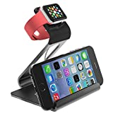 Apple Watch Stand - Poetic iPhone iwatch Dual Stand charging station holder cradle dock Updated Version[Loft] - Aluminum Stand with TPU Dock [Charging Cable & Watch Case & Watch NOT INCLUDED] for Apple Watch Space Grey (3-Year Manufacturer Warranty From P