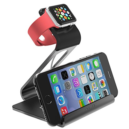 Apple Watch Stand - Poetic iPhone iwatch Dual Stand charging station holder cradle dock Updated Version[Loft] - Aluminum Stand with TPU Dock [Charging Cable & Watch Case & Watch NOT INCLUDED] for Apple Watch Space Grey (3-Year Manufacturer Warranty From P by Poetic