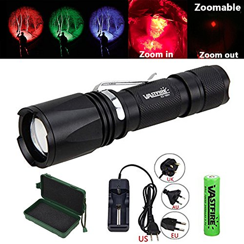 Zoomable Green /Red/ UV Hunting Flashlight Deer Blood Tracker Light Red Night Vision Flashlight Green Hunting Lights Black Light Hunter Flashlights for Hog, Predator, Coyotes, Deer Night Hunting