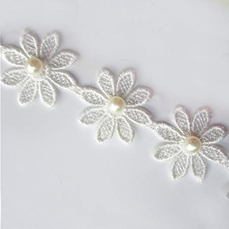 1 inch wide embroidered white//pink daisy Lace trim selling by yard