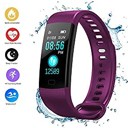 Fitness Tracker Smart Bracelet,color Screen Smart Bracelet, Yimiky Smart Waterproof Watch Blood Pressure Heart Rate Monitor, Fitness Tracker,pedometer For Womenmenkids-purple