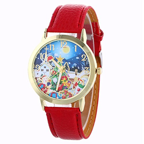 - Gotd Christmas Theme Pattern Analog Quartz Vogue Watches for Womens Ladies Girls (Rred)