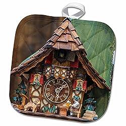 3dRose Danita Delimont - Jim Engelbrecht - Clocks - Traditional cuckoo clock for sale, Rothenburg, Germany - 8x8 Potholder (phl_188521_1)