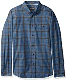 Quiksilver Waterman Men's Cortez Straight Plaid Button Down Shirt, Estate Blue Cortez Straight, S